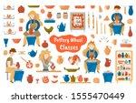 pottery wheel and pottery mega... | Shutterstock .eps vector #1555470449