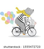 cute bear and rabbit with... | Shutterstock .eps vector #1555472723