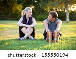young couple exercising together | Shutterstock . vector #155550194