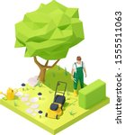 vector isometric gardener...   Shutterstock .eps vector #1555511063