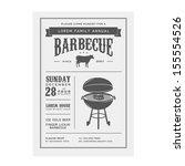 vintage barbecue invitation | Shutterstock .eps vector #155554526
