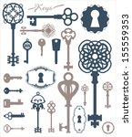 vintage silhouette of keys and... | Shutterstock .eps vector #155559353