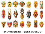 African Mask Cartoon Set Icon...