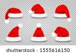 set of santa claus hats....   Shutterstock .eps vector #1555616150