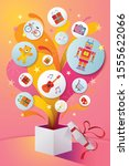 gifts icons popping out from... | Shutterstock .eps vector #1555622066