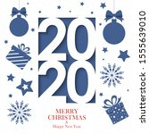 2020 calendar merry christmas... | Shutterstock . vector #1555639010