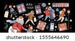 black friday  vector cute... | Shutterstock .eps vector #1555646690