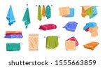 cartoon towels. bath rolled...   Shutterstock .eps vector #1555663859
