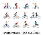 People On Bike. Diverse Active...
