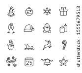 vector set of christmas line... | Shutterstock .eps vector #1555679513