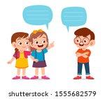 happy cute kid boy and girl... | Shutterstock .eps vector #1555682579