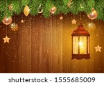bronze christmas lantern with... | Shutterstock .eps vector #1555685009