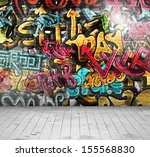 Graffiti on wall.Illustration contains transparency and blending effects, eps 10 - stock vector