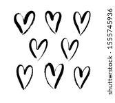 vector set of hand drawn brush... | Shutterstock .eps vector #1555745936
