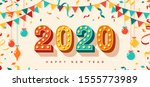 happy new year 2020 card or... | Shutterstock .eps vector #1555773989