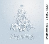 christmas tree from snowflakes. ... | Shutterstock .eps vector #155577830