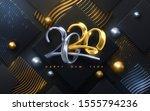 bended numbers 2020. holiday... | Shutterstock .eps vector #1555794236