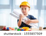 Small photo of Portrait asian Boy 2.6 years old Playing toys.To learn and enhance development, little architect.