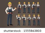 set of worker with different... | Shutterstock .eps vector #1555863803
