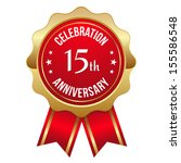 gold red fifteen year... | Shutterstock .eps vector #155586548