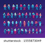 isometric ultraviolet people... | Shutterstock . vector #1555873049