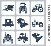 Vector isolated tractor and combine harvester icons - stock vector
