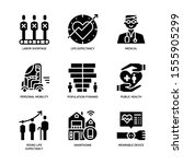 ageing society icons set solid...   Shutterstock .eps vector #1555905299
