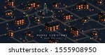 christmas night city. winter... | Shutterstock .eps vector #1555908950