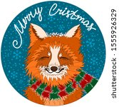 fox in a striped red green... | Shutterstock .eps vector #1555926329