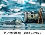 cash hundred dollar bills ... | Shutterstock . vector #1555929893
