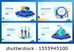 trendy flat illustration. set... | Shutterstock .eps vector #1555945100