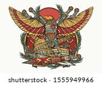 roman empire. colosseum  eagle... | Shutterstock .eps vector #1555949966