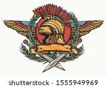 spartan helmet  wings  crossed... | Shutterstock .eps vector #1555949969