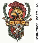 ancient rome tattoo. soldier... | Shutterstock .eps vector #1555950266