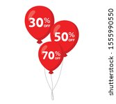 3 red flying balloons with 30 ...