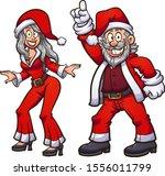 disco dancing santa and mrs....   Shutterstock .eps vector #1556011799