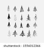 set of hand drawn sketched... | Shutterstock .eps vector #1556012366