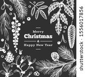 christmas hand drawn vector... | Shutterstock .eps vector #1556017856