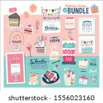 a birthday design bundle ideal... | Shutterstock .eps vector #1556023160
