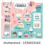a birthday design bundle ideal... | Shutterstock .eps vector #1556023163