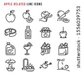 apple related line icons  pixel ... | Shutterstock .eps vector #1556039753