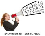 young angry business woman... | Shutterstock . vector #155607803