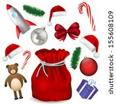 santa claus bag and toys... | Shutterstock .eps vector #155608109