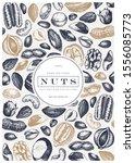 vector nuts frame design. hand... | Shutterstock .eps vector #1556085773