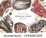 beef steaks  vegetables and... | Shutterstock .eps vector #1556087609