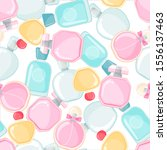 seamless pattern with perfume... | Shutterstock .eps vector #1556137463