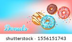 card with glaze donuts and... | Shutterstock .eps vector #1556151743