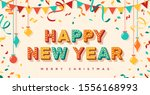 happy new year card or banner... | Shutterstock .eps vector #1556168993