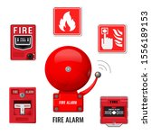 fire alarm system icons set.... | Shutterstock .eps vector #1556189153