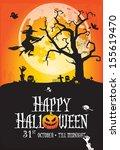 a spooky happy halloween poster ... | Shutterstock .eps vector #155619470
